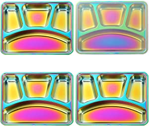 QIBOORUN 304 Stainless Steel Divided Plate with Lid, Set of 4 Mess Food Trays 4 Section Dinner Plate,Camping Dishes, Toddlers Kids Adult Lunch and Dinner or Every Day Use -Rainbow Color