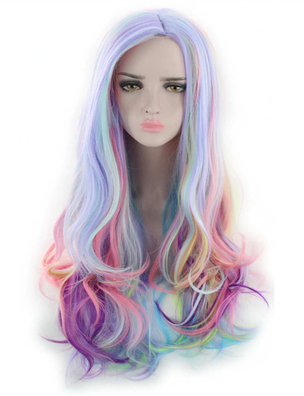 aec7f9eb4a32 Amazon.com  TopWigy Curly Cosplay Wigs Heat Resistant Long Colored Costume  Wigs Anime Party Multi Color Wigs (Multi Color 28