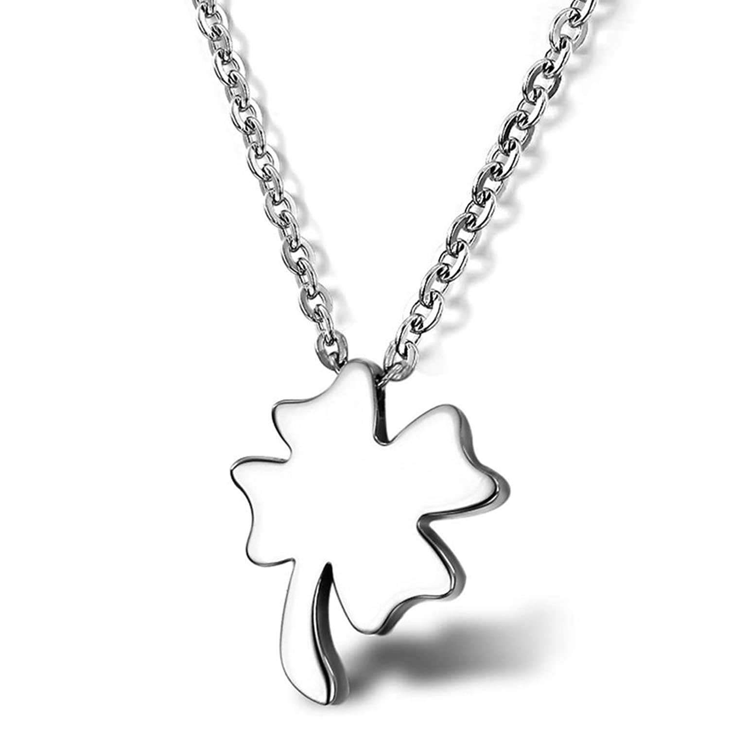 Aokarry LUCKY Necklace Stainless Steel Plain Four Leaves Clover Pendant Silver Rolo Chain AOK01GL151