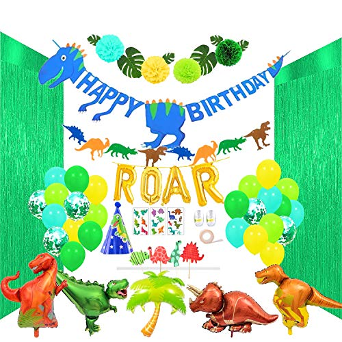ReignDrop Dinosaur Birthday Party Decorations Kit - Pack of 116 Supplies - Banner, Pom Poms, Balloons & More - Cute & Colorful - Easy to Set Up - Non-Toxic Accessories - All-Inclusive Décor Pack -