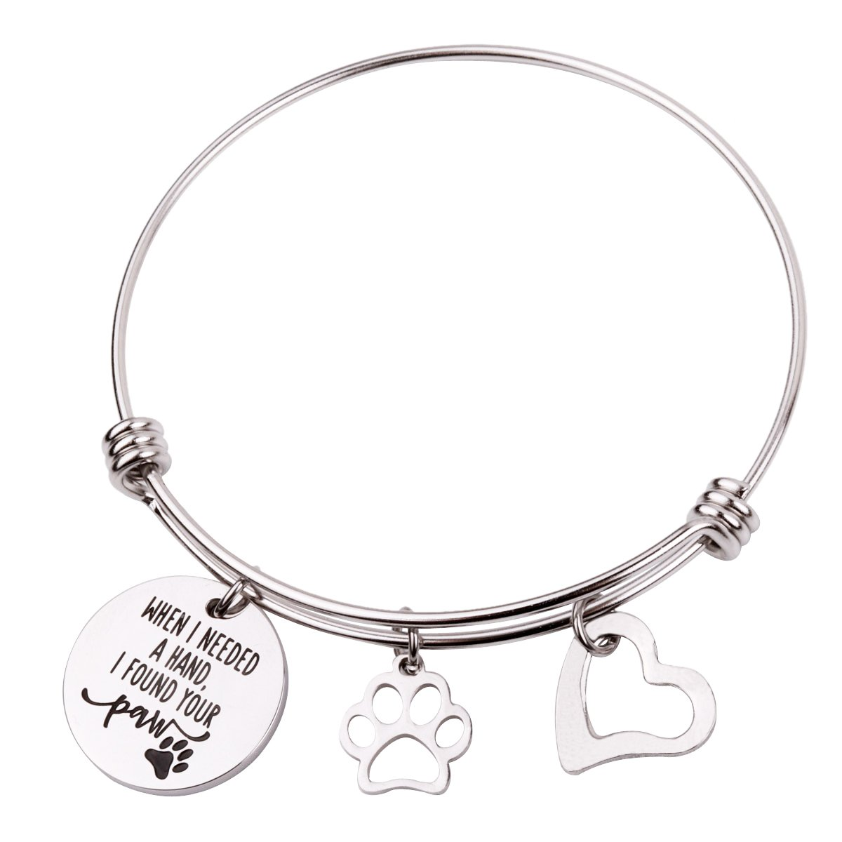 RUNXINTD Dog Lovers Bracelet When I Needed A Hand I Found Your Paw with Paw Print Charm Bracelet (When I Needed A Hand I Found Your Paw Bangle Bracelet)