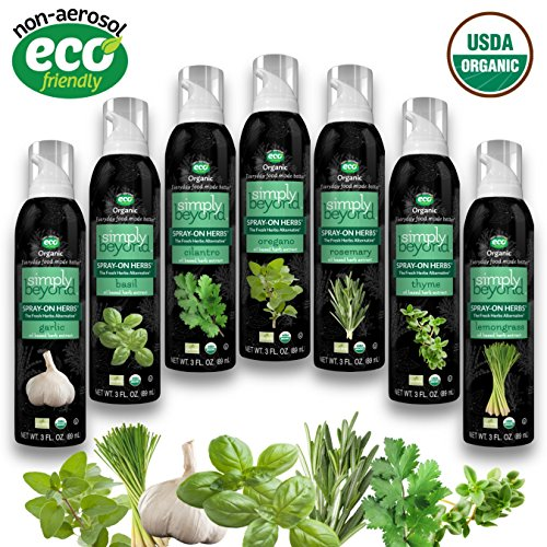 The Herb Garden (7 Assorted Simply Beyond Organic Spray-On Herbs Seasoning - Garlic, Basil, Oregano, Rosemary, Cilantro, Thyme, Lemongrass) ()