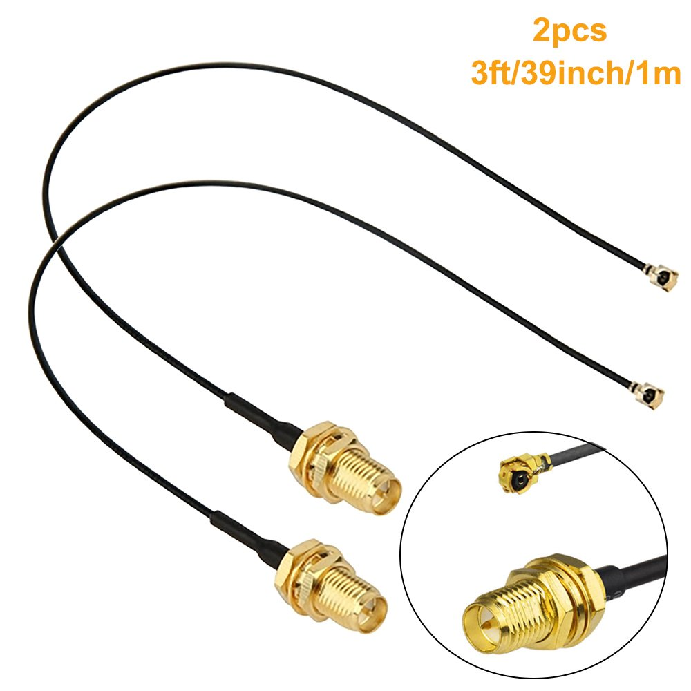 Mumaxun 2pcs 3ft/39inch U.FL Mini PCI to RP-SMA Pigtail Antenna WiFi Cable for Wireless Router, Access Point Repair or Similar Project
