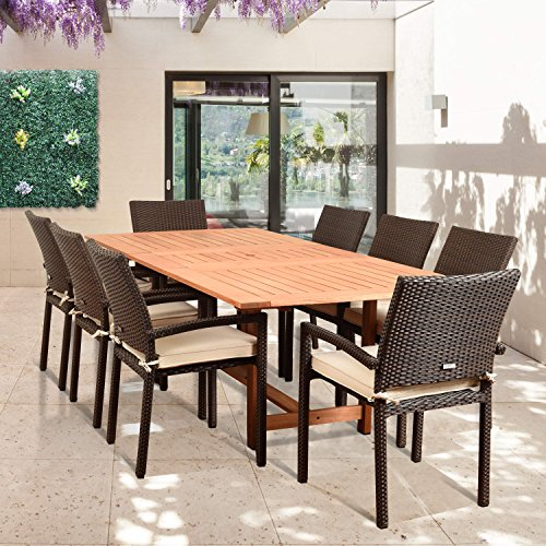 Amazonia Audrey 9 Piece Rectangular Patio Dining Set Brown With