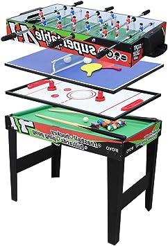 AIPINQI mesa de juego multifunción 4 en 1, mesa de billar, mesa de futbolín, mesa de hockey, mesa de tenis de mesa, 31.5in(Green): Amazon.es: Deportes y aire libre