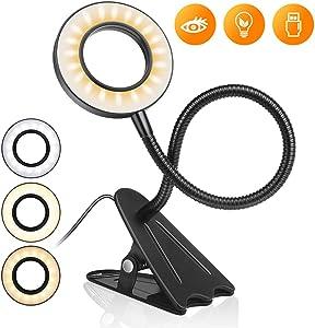 Clip on Reading Lights LED USB Book Clamp lamp with 3 Color Modes,10 Brightness Adjustable,Eye Protection Kids Desk Lamp 360° Flexible Gooseneck Bed Night Light