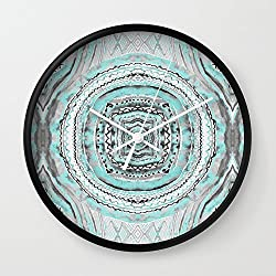 Society6 Teal & Blue Complexities - A Watercolor Tribal Pattern Wall Clock Black Frame, White Hands