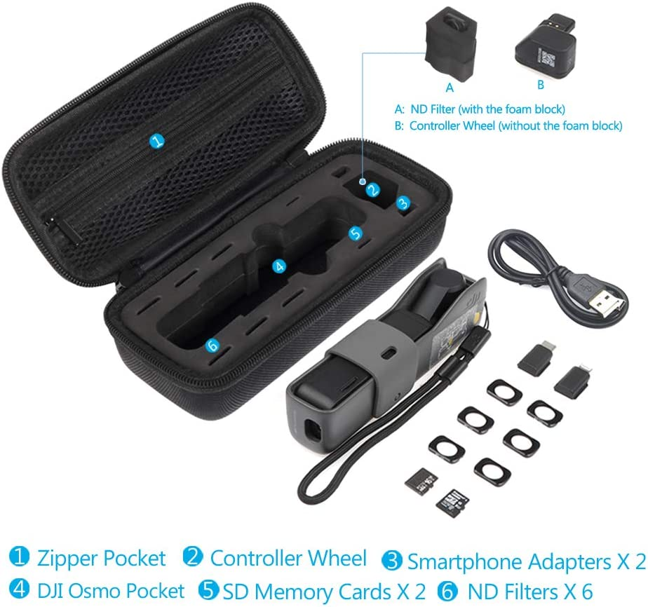 ND Filters Carrying Case for DJI Osmo Pocket JSVER Min Hard Shell Osmo Pocket Travel Storgae Case Controller Wheel Smartphone adapters and Accessories SD Memory Cards