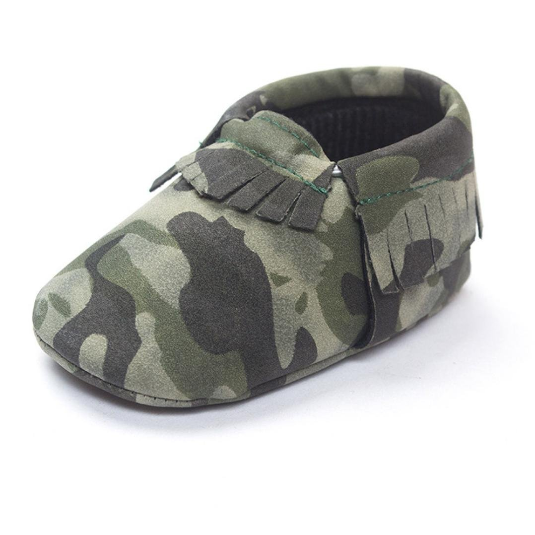 GQMART Baby Tassels Sneakers Camouflage Soft Sole Crib Shoes Army Green