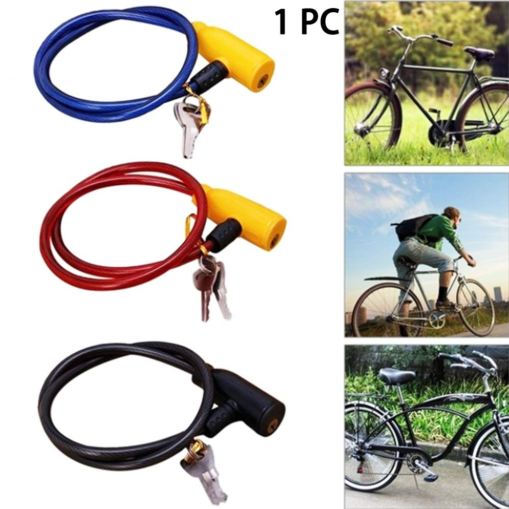 1x Cycling 8x640mm Cable Anti-Theft Bike Bicycle Scooter Safety Lock With 2 Key