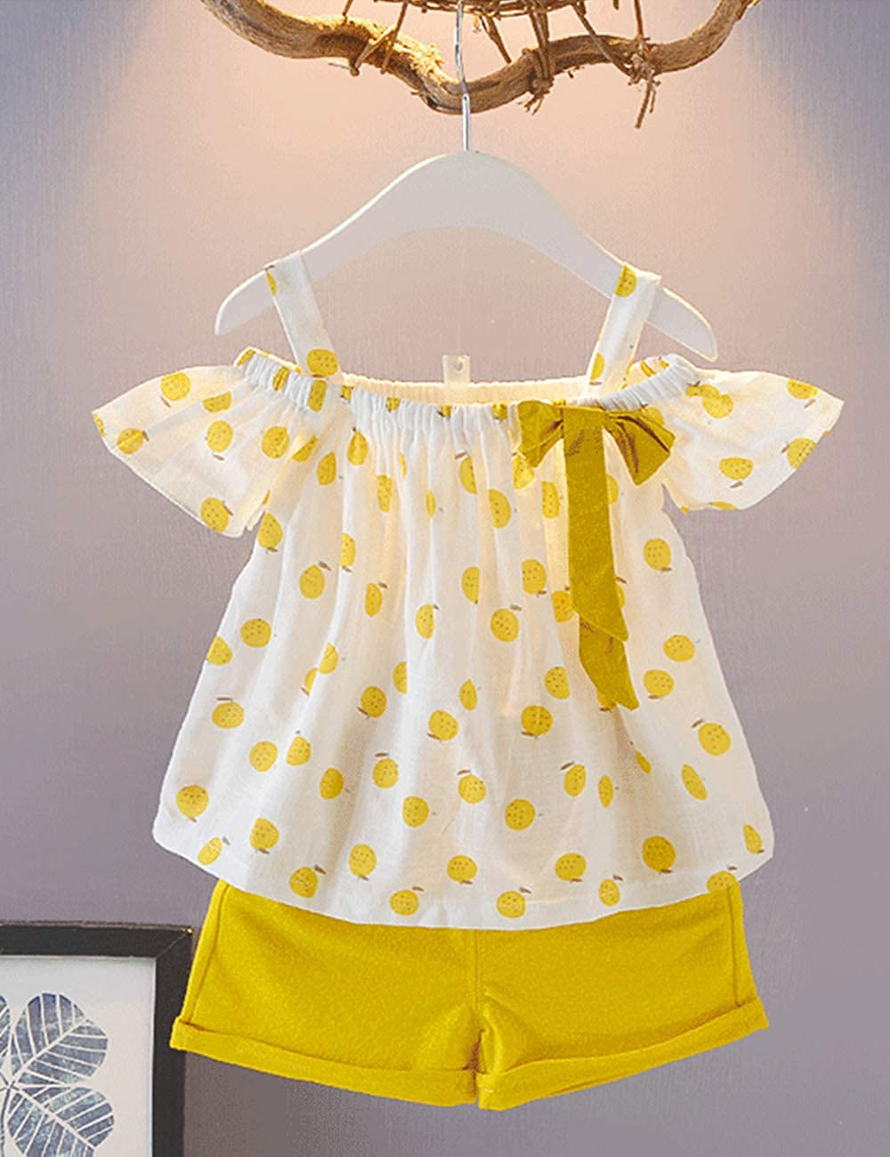 Toddler Girl Outfits 2Pcs Ruffle T-Shirt Vest Tops and Shorts Pants Clothes Sets