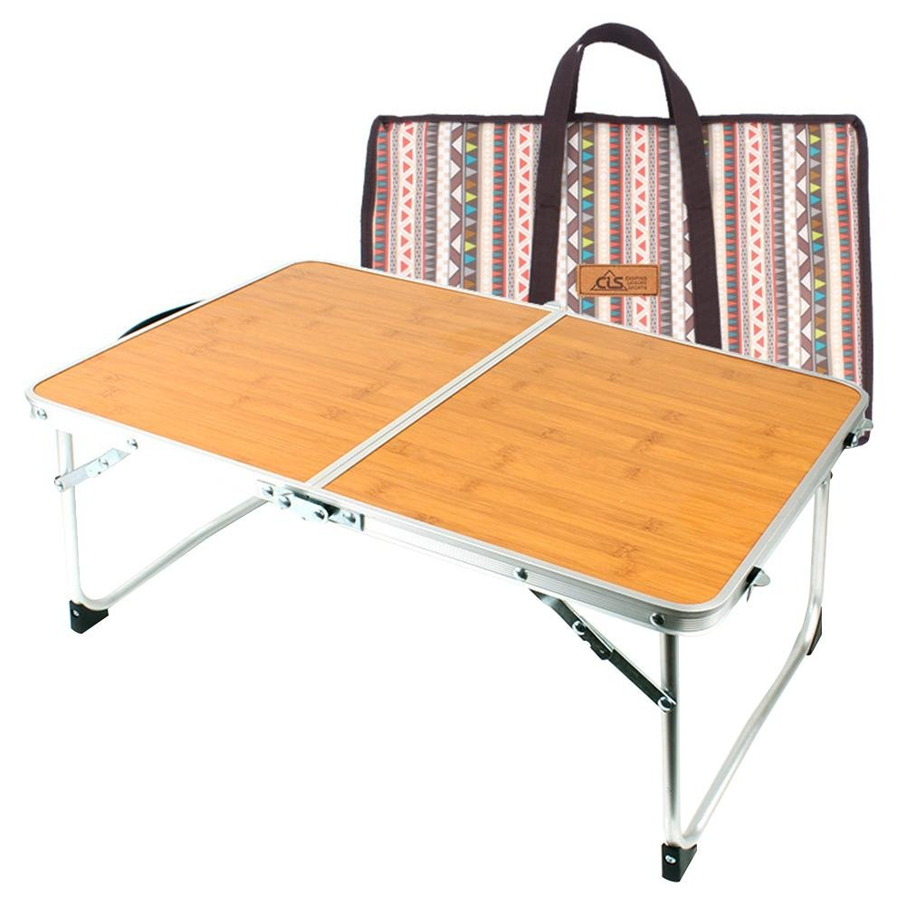 Outdoor Foldable Laptop Portable Mini Picnic Table & Ultra Lightweight Folds Storage Space Bamboo Wood Grain Barbecue Table for Party Camping & Dining