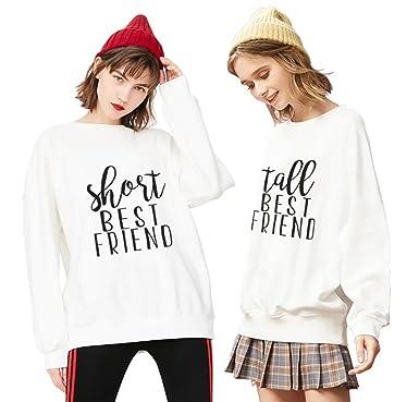 Best Friend Sudadera Cuello Redondo Mejor Amiga Suéter 2 Piezas Sister Impresión Short Tall Sweatshirt Manga