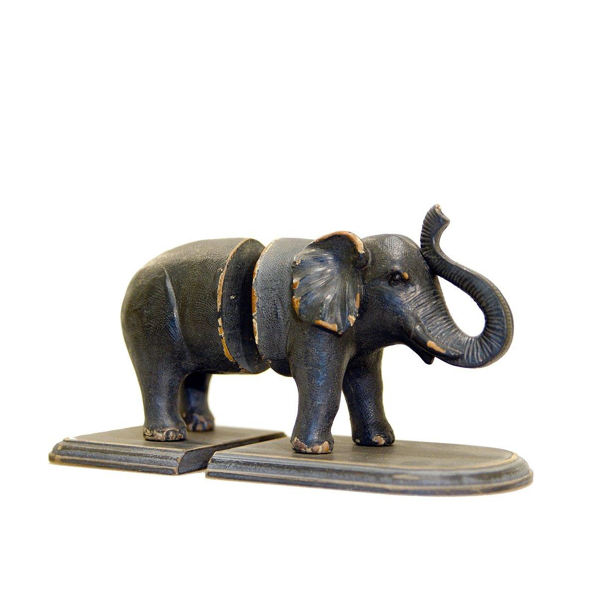 Dark Gray Elephant Shaped Bookends - Jungle Animal Figure Statues Shelf Decor