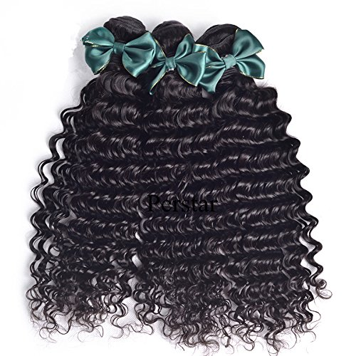 Perstar hair 7A Grade Brazilian Deep Wave 3 Bundles with Closure Unprocessed Virgin hair with 4''4'' lace closure free part(18 20 22+18 lace closure)