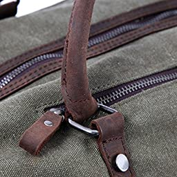 WindFeel Canvas Leather Trim Travel Tote Duffel Shoulder Handbag Weekend Bag -Large Size High Capacity-for Men (Army Green)