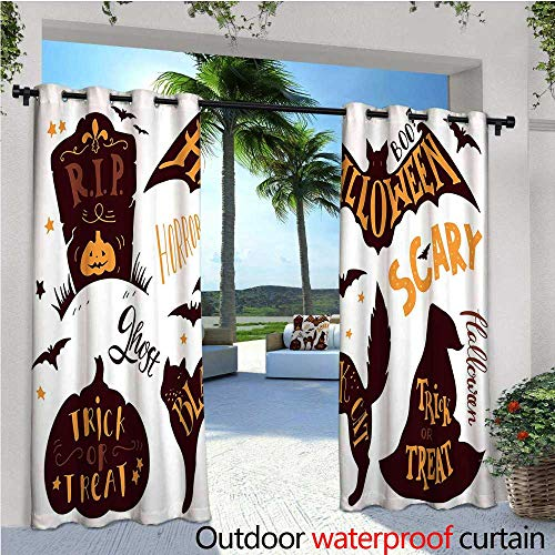 cobeDecor Vintage Halloween Indoor/Outdoor Single Panel Print Window Curtain Halloween Symbols Trick or Treat Bat Tombstone Ghost Candy Scary Silver Grommet Top Drape W96 x L108 Dark Brown Orange