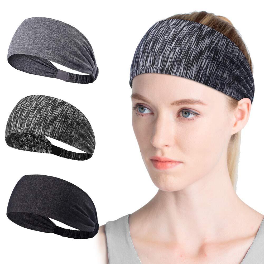 HZQDLN Sports Headband Female Elastic Athletic Hairband Sweating Headband 3pcs for Yoga/Running/Cycling/Gym/Washing face/Daily Wear