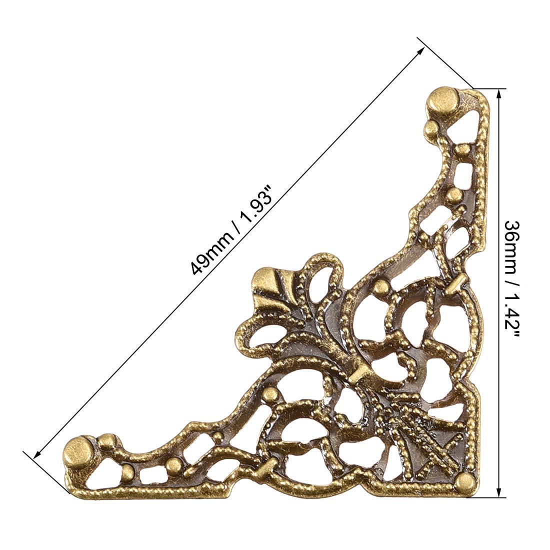 sourcing map Metal Caja Esquina Protectores Vintage Decoraci/ón Borde Guardia Protector Tono de Bronce 36 x 36 x 49 mm-10 Piezas
