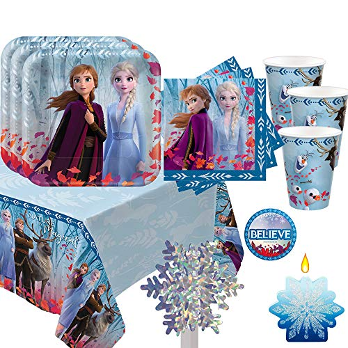 Party De Frozen (Frozen 2 Birthday Party Essentials Supplies Pack For 16 Frozen 2 Plates, Napkins, Cups, Tablecover, Birthday Candle, Snowflake Centerpiece and Believe)