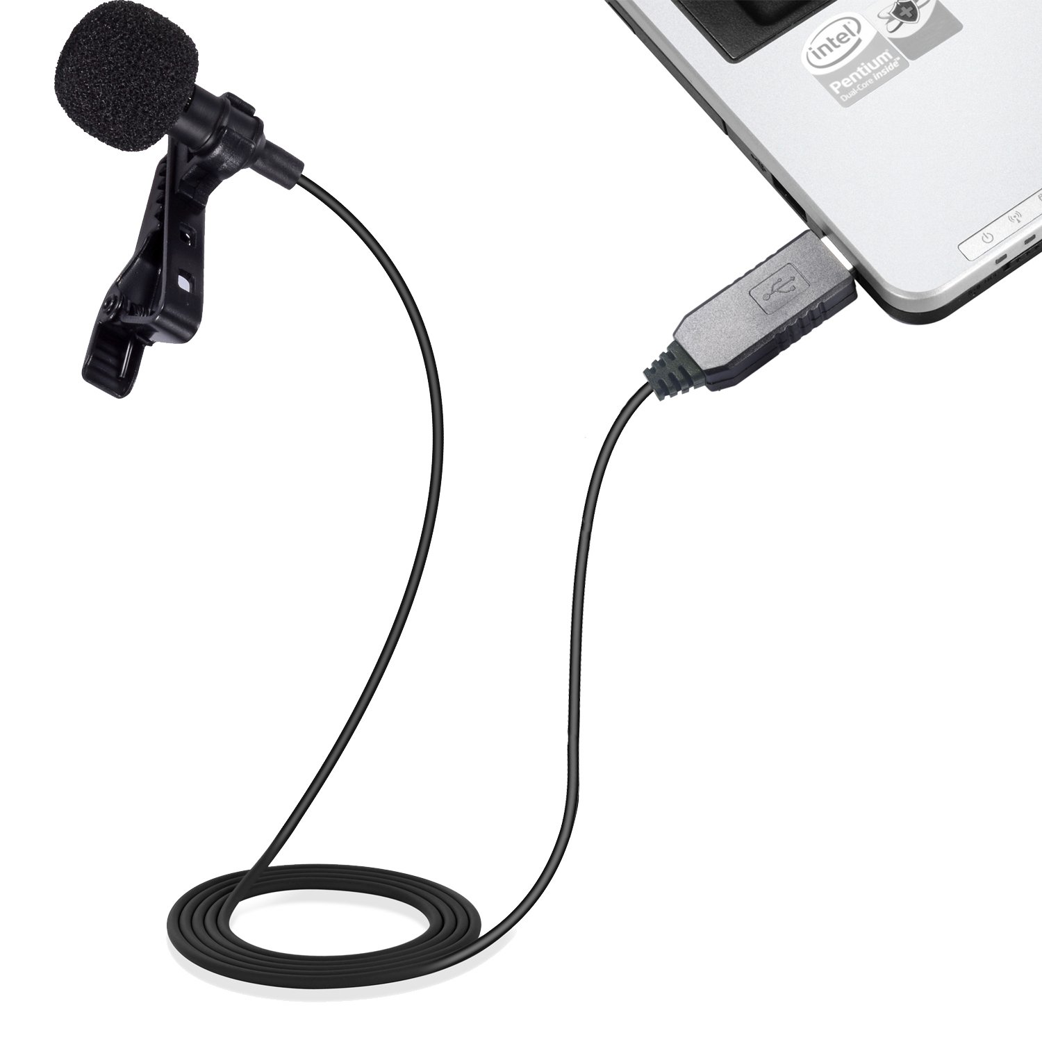 Mic for Computer, PChero USB Lavalier Clip-on Omnidirectional Condenser Microphone for Laptop PC Macbook, Perfect for Interviews, Skype, Audio Video Youtube Recording, QQ, MSN, Skypee, Podcast by PChero (Image #2)