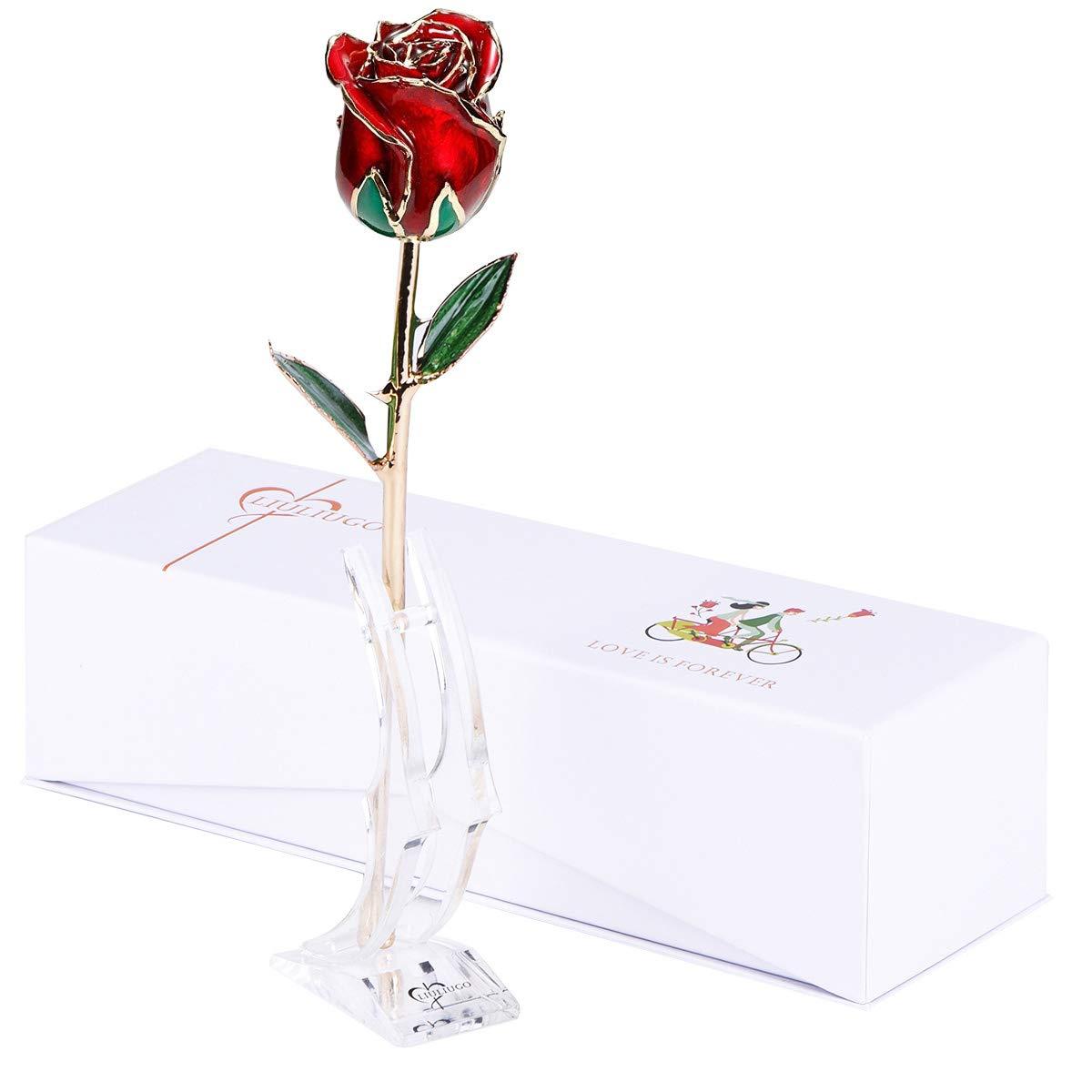 LiuLiugo 24Kゴールドローズ 女性用 卒業ギフト 本物のフレッシュな長い茎のバラの花 バレンタインデー、母の日、クリスマス、記念日、誕生日に最適なギフト B07QGVNB4Z