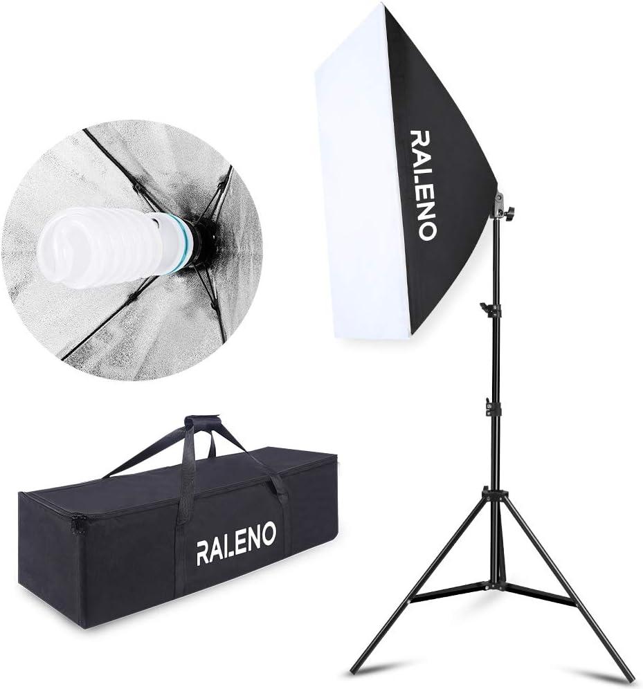 with E27 Socket and 2x5500K Instant Brightness Energy Saving Lighting Bulbs for Filming Model Portraits Advertising Shooting Softbox Lighting Kit Photo Equipment Studio Softbox 20 x 27