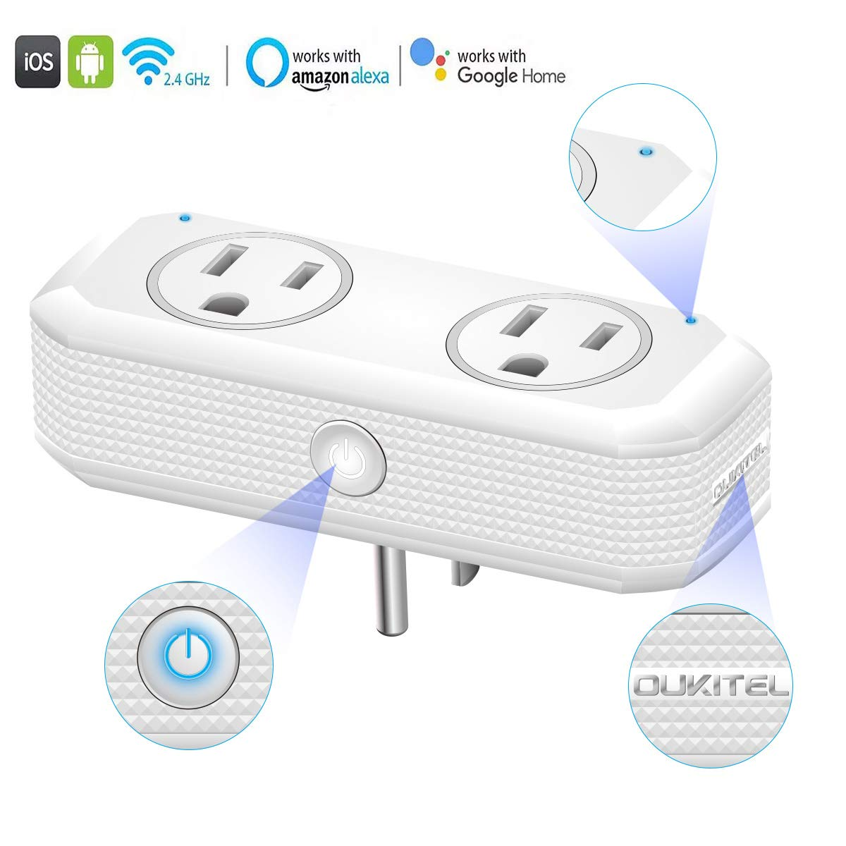Oukitel Smart Wi-Fi Plug, Alexa Echo Plug,2 in 1 Smart Plug Mini Outlet With Timer Wi-Fi Smart Socket Switch Voice and App Controlled,Compatible with Alexa Echo,Google Home and IFTTT (1 Pack, Gray)
