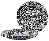 Enamelware - Set of 4 Dinner Plates (Black Marble)