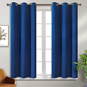 BGment Blackout Curtains for Bedroom - Grommet Thermal Insulated Room Darkening Curtains for Living Room, 38 x 45 Inch, 2 Panels, Classic Blue