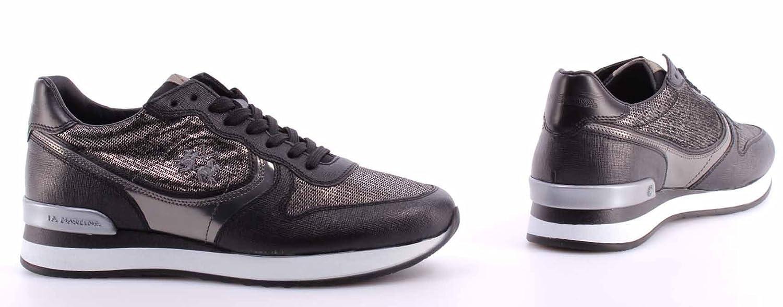 La Martina Zapatos Mujer Sneakers L2140246 Saffiano Nero Miraval Argento Italy pO4teQ