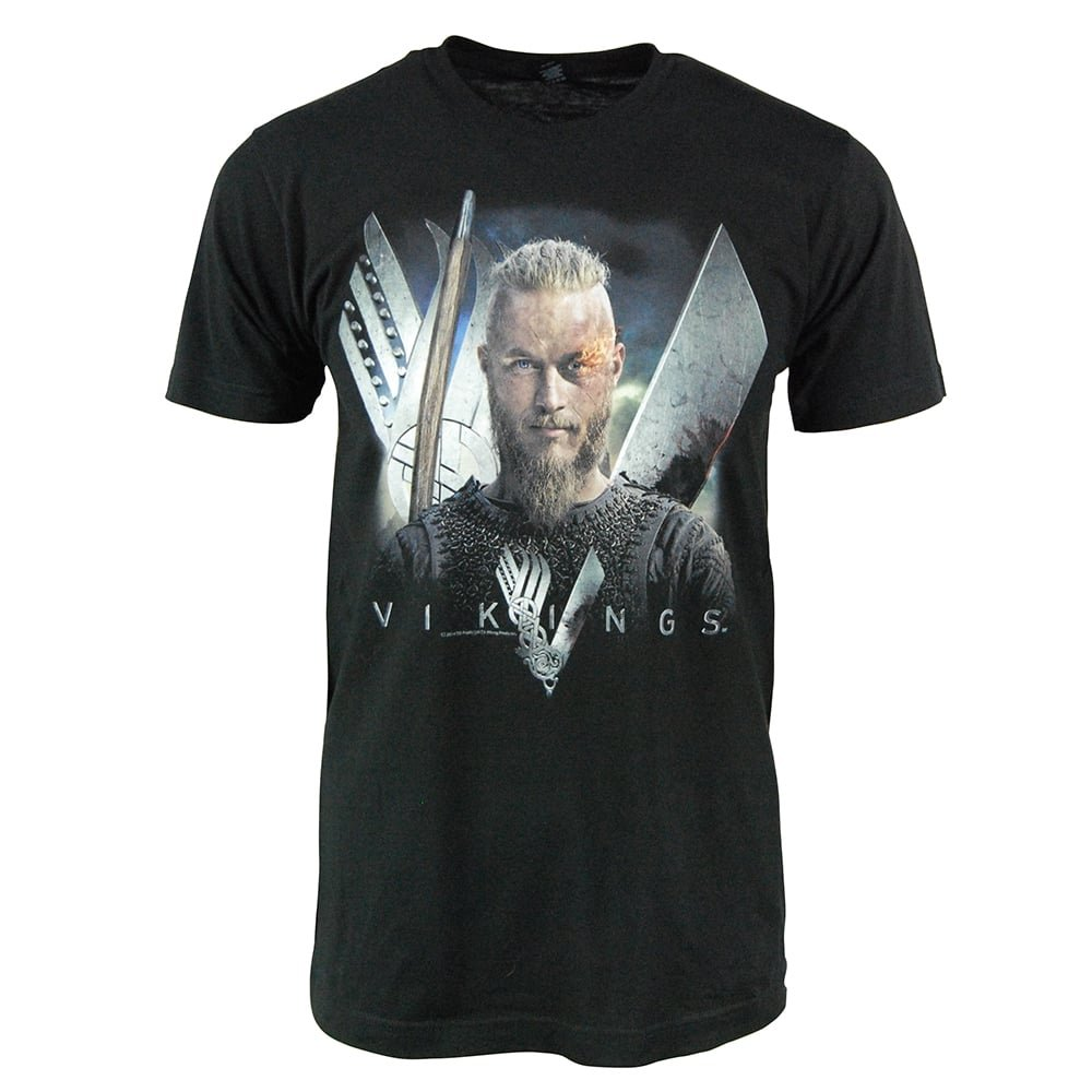 eb85a389 Viking Shirts for Men - Men's Vikings TV Show Ragnar Lothbrok T Shirt Black