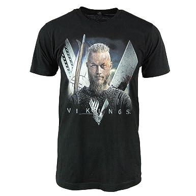 competitive price e8303 91f43 Viking Shirts for Men - Men's Vikings TV Show Ragnar Lothbrok T Shirt Black