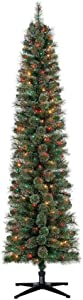 Home Heritage Stanley 7 Foot Skinny Slim Pencil Artificial Pre-Lit Pine Christmas Tree with Colored Lights