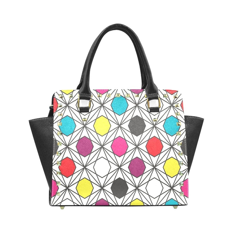 Repeat Hexagon Rivet PU Leahter Shoulder Handbag For Fashion Women/Girls