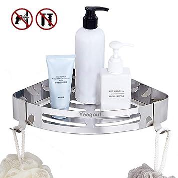Yeegout Estanteria baño con 2 ganchos, Acero inoxidable Montado en la pared estante ducha para Cocina
