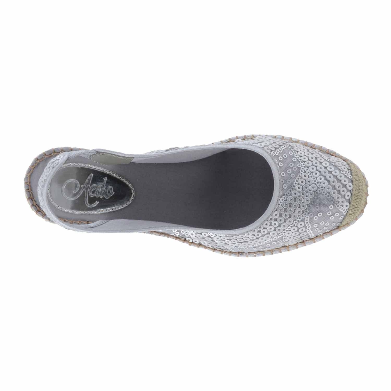 Alpargatas piel y lentejuelas Talla: 38 Color: PLATA: Amazon.es: Zapatos y complementos