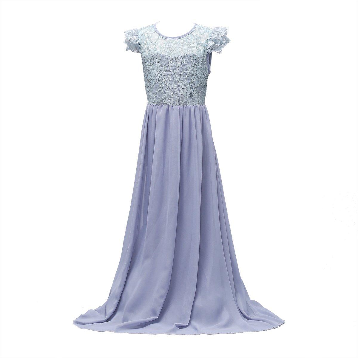 756a6b8ed29e Amazon.com  Glamulice Big Girls Lace Chiffon Floor Length Dress ...