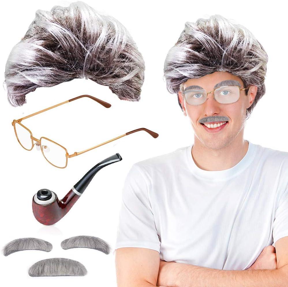 cient/ífico Loco Carnaval Halloween Einstein Abuelo MMTX Old Man Fancy Dress Accesorio Set Peluca de Abuelo con Bigote Mad Scientist Gafas y Pipa Cejas Profesor Viejo