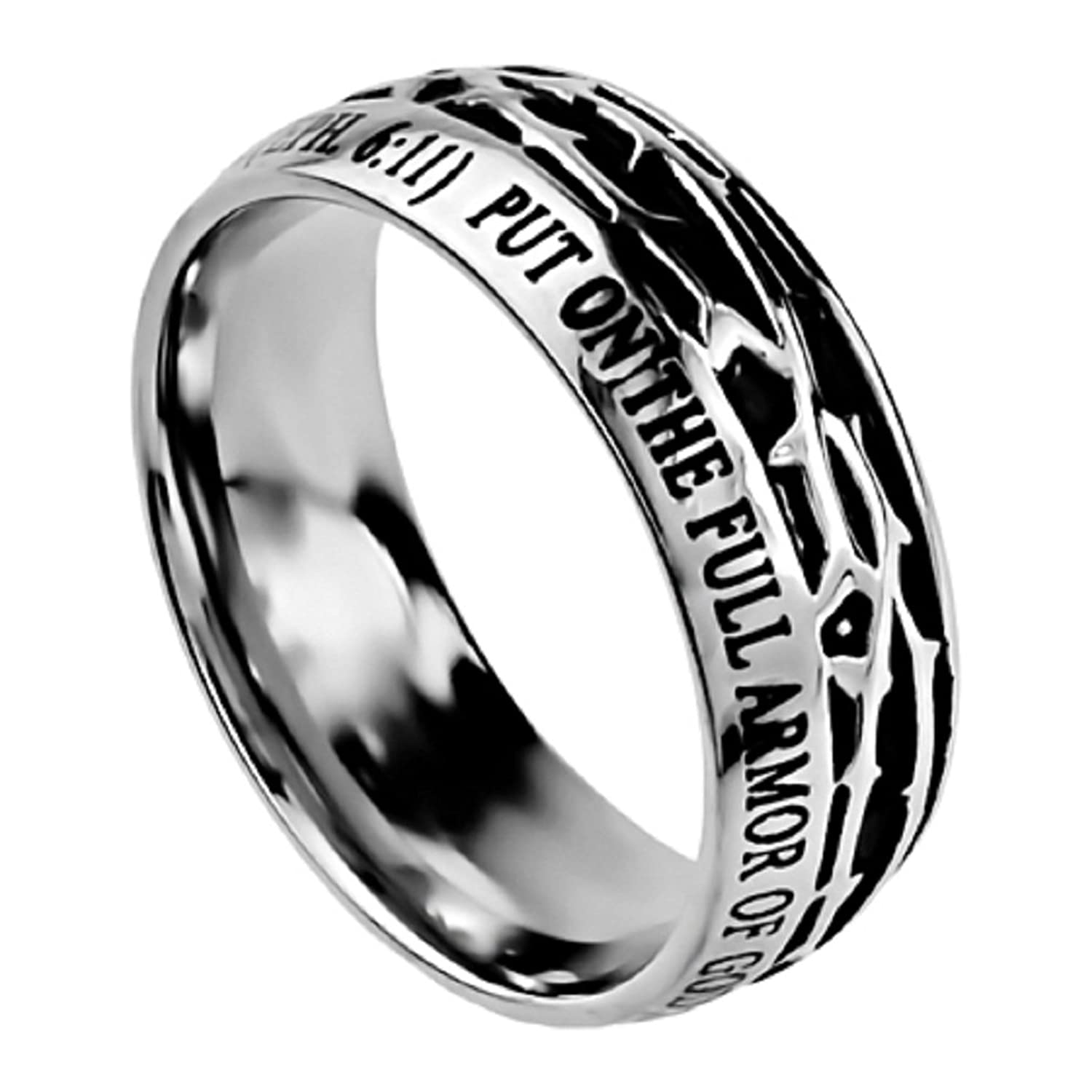 Ephesians 6 11 Crown of Thorns Ring Stainless Steel Christian