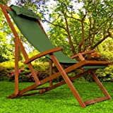 Wooden Deck Chair Fabric Folding Garden Chairs made of Hardwood Green Pillow included