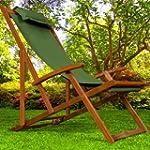 Wooden Deck Chair Fabric Folding Gard...