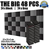 Dragon Dash 48 Pack of 25 x 25 x 5 cm Black and Gray Acoustic Soundproofing Pyramid Foam Studio Treatment Wall Panel Tiles DD1034 (BLACK & GRAY)