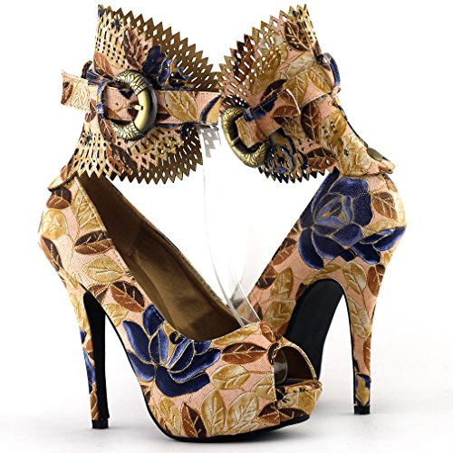 Show Story Multicoloured Floral/Animal Pattern Gladiator Platform Pumps,LF30402 Brown