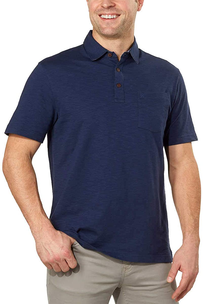 IZOD Men's Polo Shirts Short Sleeve Cotton Slub Casual Shirt