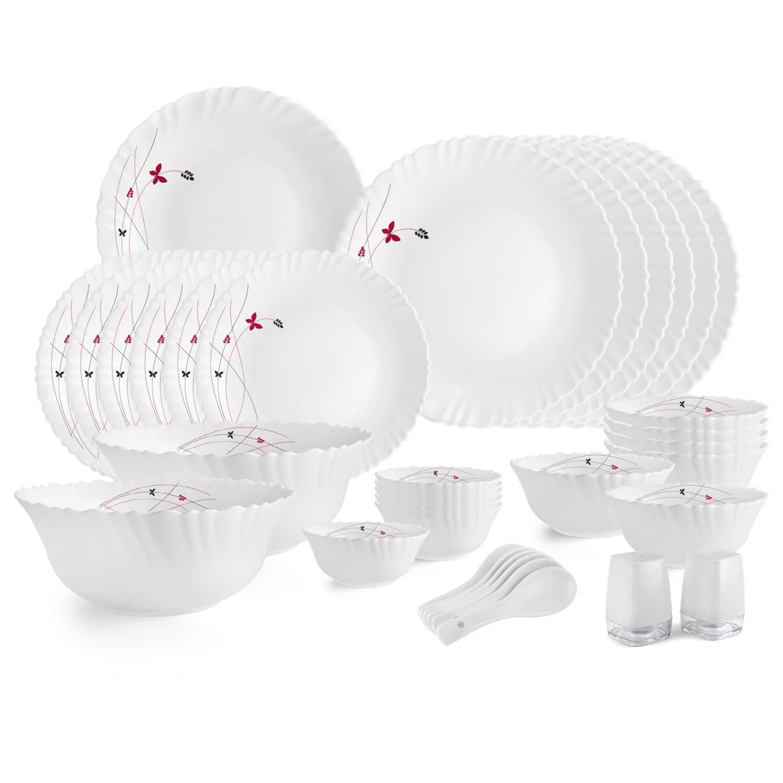 Cello Opalware Dazzle Lush Fiesta Dinner Set, 35PCs, White