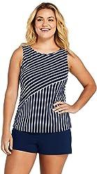 d1e57dfce5 Lands' End Women's Plus Size High-Neck Tankini Top Swimsuit Print