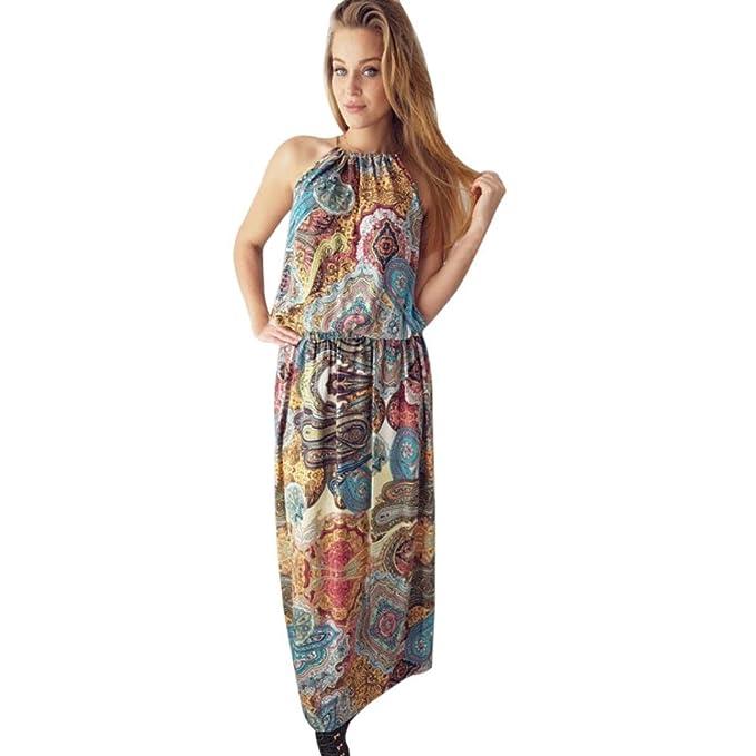37b083b7f3c4 Kleider Damen Dasongff Damen Sommerkleid Vintage Boho Lange Maxikleid Abend  Party Strand Kleid Sleeveless Blumenkleid Abendkleider