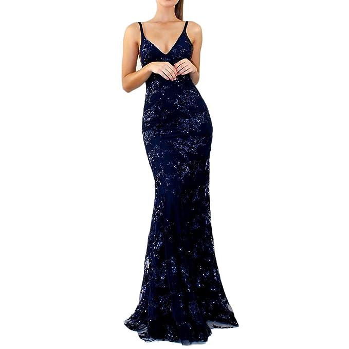 iBaste 2018 Elegante Paillettes Abiti da Damigella d Onore Donna Sexy  Backless Vestito Scollo- 136745f06dd
