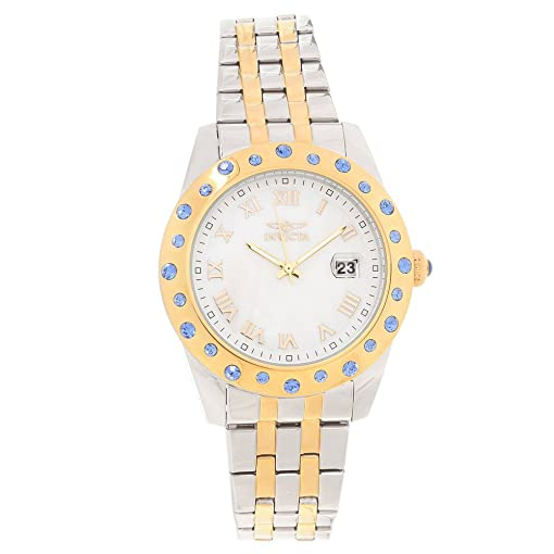 Invicta 18982 Women's Angel Crystal Accented Bezel MOP Dial Two Tone Steel  Bracelet Watch